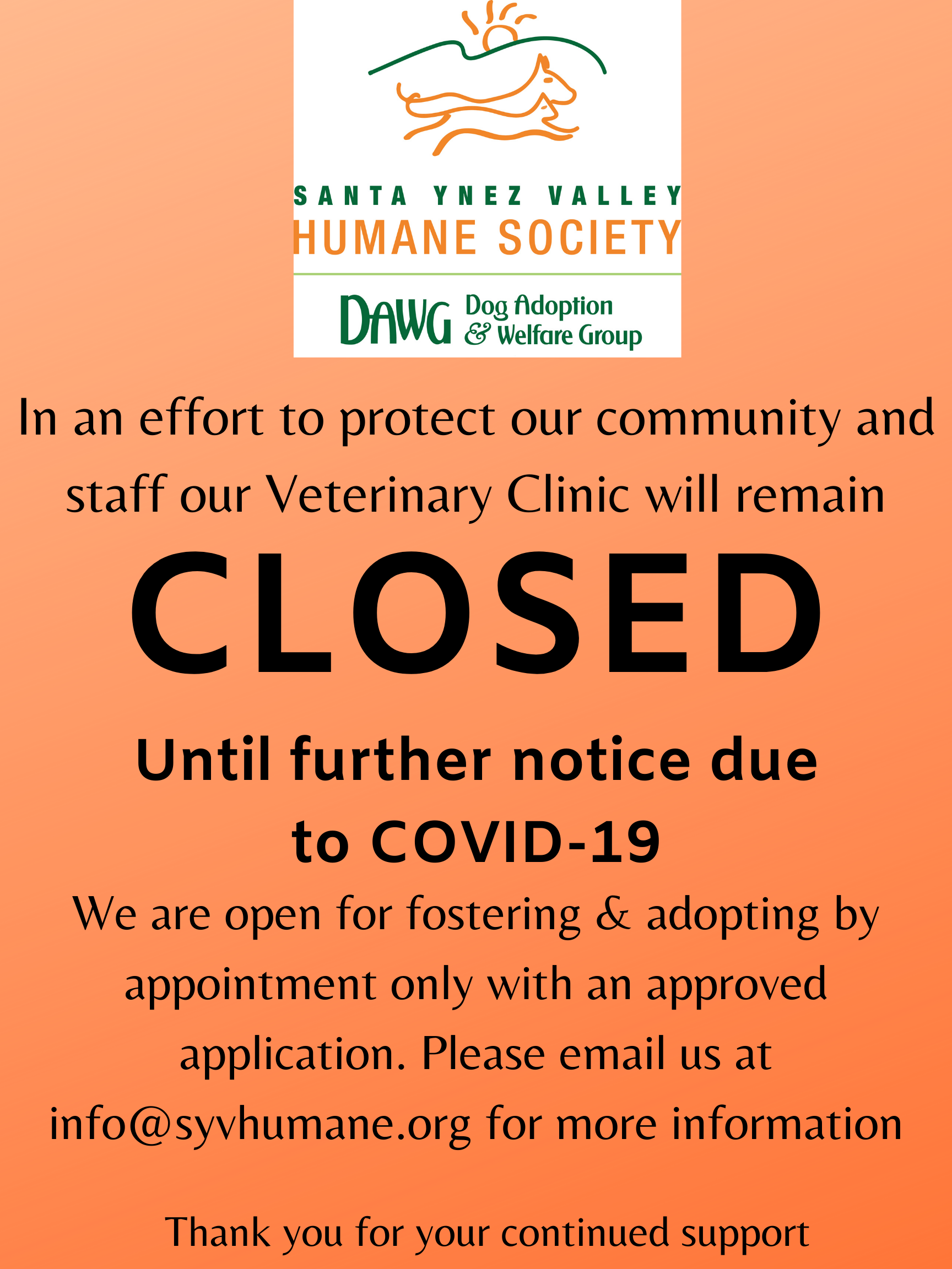 Shelter Update Regarding COVID-19